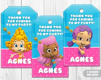 Bubble Guppies Thank You Tags, Bubble Guppies Thank You Labels, Bubble Guppies Printable Favor Tags
