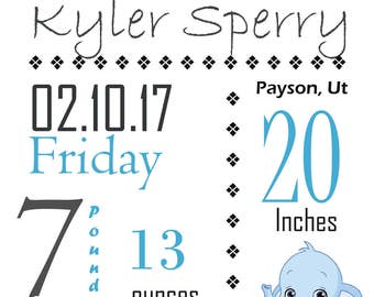 Custom Birth Announcement- Baby - Boy- Girl- Blue- Pink