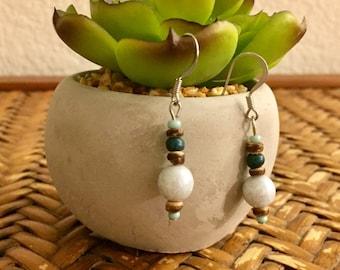 FREE SHIPPING - Teal dangle earrings