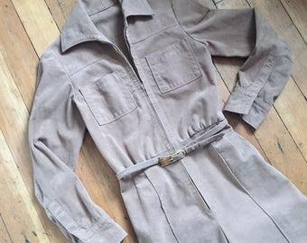 vintage 1970s ultrasuede jumpsuit // 70s faux suede front zip jumpsuit