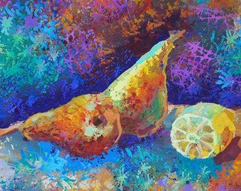 Still life painting print acrylic original painting print Fruit Still Life Kitchen three pears Kitchen home decor fine art colorful textured