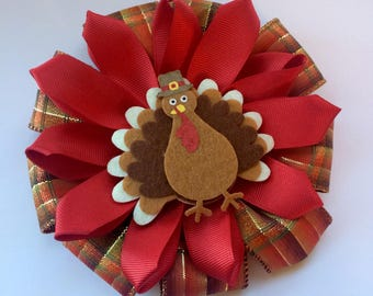 Plaid Turkey Posey Clip