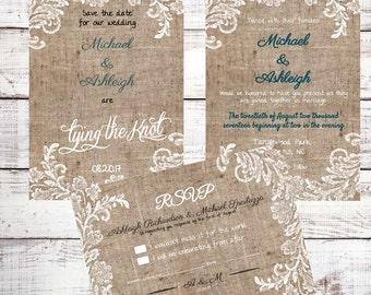Burlap & Lace Wedding Invitation Kit