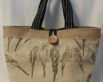 Tote Bag, Beach Bag, Purse, School Bag, Market Bag---Burlap/Denim/Birds Handbag, Handbag, Burlap Tote Bag