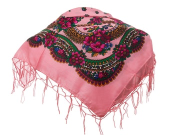 PINK folk SCARF shawl with flowers and fringes POLAND scarves fashion colors