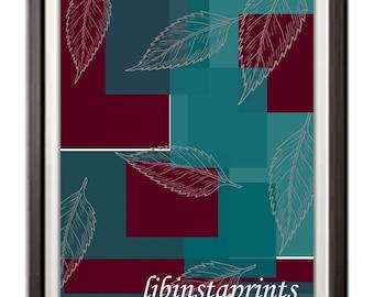 Teal-Burgundy Abstract Print, Teal-Burgundy Abstract Print, Teal-Burgundy Wall Decor, Teal Gallery Wall Print,  8x10 Wall Print