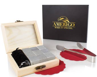 Premium Whiskey Stones by Amerigo - Water Down Your Whisky? Never Again ! Set of 9 Chilling Whiskey Rocks -  With an Exclusive Wooden box!