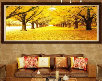 5D Full Diamond Painting-yellow leaves of trees