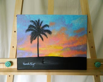 Palm Tree Sunset Painting