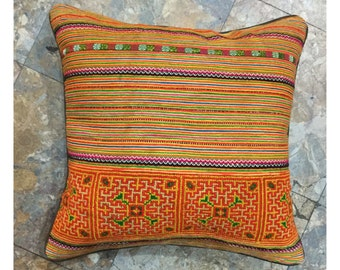 Handmade Tribal Flower Hmong embroidered cotton pillow cover