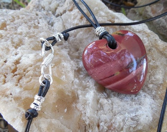 Jasper Heart and Leather Cord Necklace