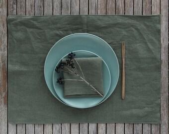 Linen Placemat Napkin Set, Green Table Linens, Linen Dinner Set, Set Of Placemat and Napkin,Table Napkins, Table Placemats, Linen Table Gift