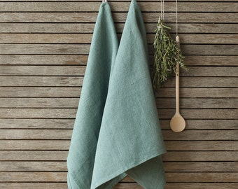 Green Linen Tea Towel,Linen Dish Towel,Natural Linen Kitchen Towel,Kitchen Linens,Handmade Linen Tea Towel,Softened Linen Dishcloth,Rustic