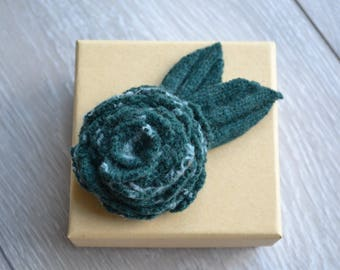CLEARANCE SALE: Handcrafted Felt Brooch - Green Rose