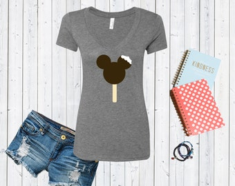 Mickey Mouse Ice Cream Bar Disney Inspired V neck Tshirt / Valentines Day Tshirt / Foodie Tee [E0100]
