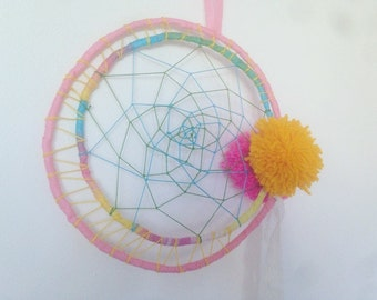 Pom Pom dream catcher, pom pom wall hanging, door hanging, rainbow dream catcher, bedroom decor, gift, present, living decor, kids decor