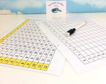 Times tables grid, Multiplication square, Numeracy, Teaching resource, KS1, KS2, Wipe clean, Dry wipe pen, Maths aid