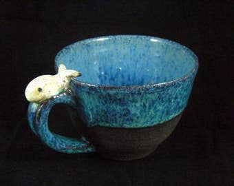 Cute cappuccino cup whale
