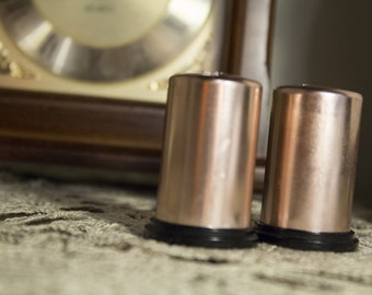 Vintage Copper Colored Salt and Pepper Shakers
