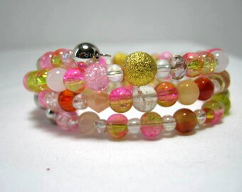 Pink Gold Memory Wire Beaded Wrap Bracelet, WhimsicalJD