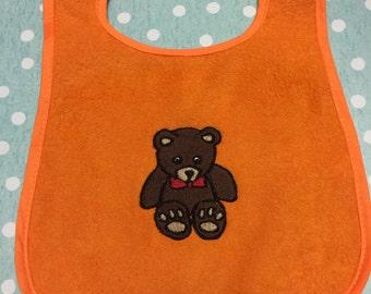 Embroidered Teddy Bear Baby Bib