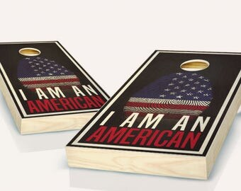 I Am An American Ebony Stained Cornhole Set