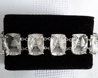 Asian Sterling Carved Pagodas Crystal Bracelet, c.1950.
