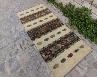 Vintage Turkish Konya Kilim, Home Decor, Decorative Rug, Home Design, Home Living, Vintage Turkish Kilim, Kilim, Kilim Rug