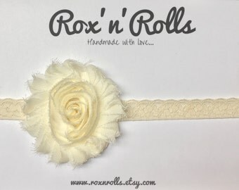 Baby, toddler, newborn, girls ivory/cream vintage flower headband accessories