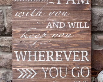 I will keep you wood sign | Genesis 28:15 wood sign | 16 x20 wood sign | Bible verse wood sign | Wall art | Home decor | Rustic wood sign