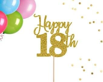 Th Birthday Party Etsy - Happy birthday 18 cake