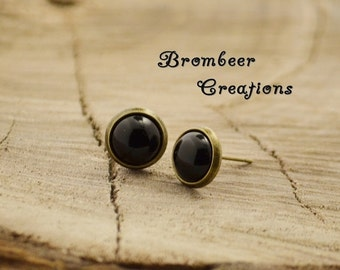 small black earring, earring small black stone, earrings stone like onyx