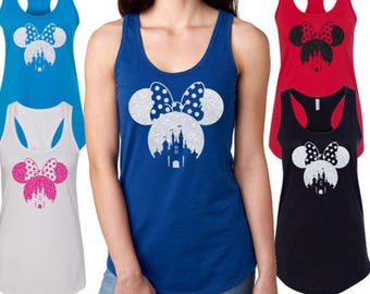 Disney shirt /tank top Minnie mouse glitter face, Disney castle mini mouse woman tank top also available for youth and babies (real glitter