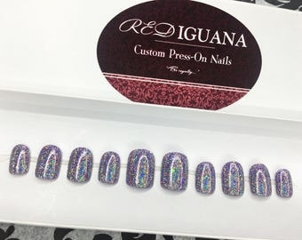 Color Changing Holographic Nails (Purple/Pink)