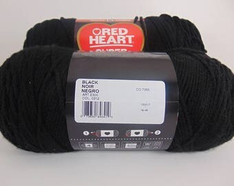 Black - -  Red Heart Super Saver yarn worsted weight - 4091