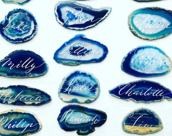 Agate slice hand written place cards / name cards