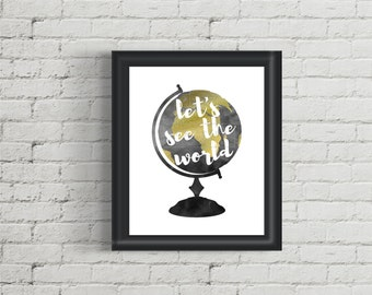 Printable Watercolor Globe -- Let's See The World
