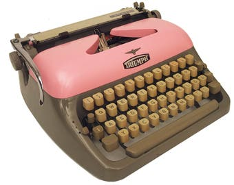 Pink Typewriter - Working Perfectly - Triumph Adler Primus - Custom Painted - Fully Serviced - Vintage Typewriter