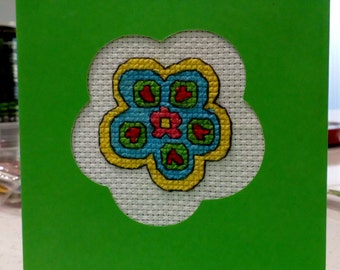 Cross stitch card with option of embroidery hoop