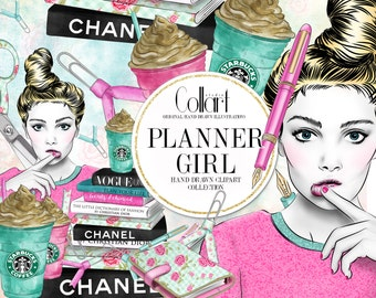 Planner Girl Clipart, Hand Drawn Clipart, Watercolor Clip Art Set, Book Stack, Coffee Cup, Fashion Clipart, Planner Supplies, Illustration