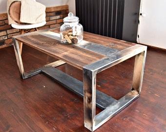Handmade Reclaimed Wood & Steel Coffee Table Vintage Rustic Industrial  loft end table unique brown silver black old wood