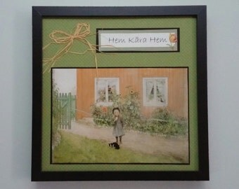Swedish framed Carl Larsson print art picture, Home Sweet Home, home decor, Scandinavian gift
