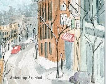 "Watercolor Print ""Cinema in Winter"""