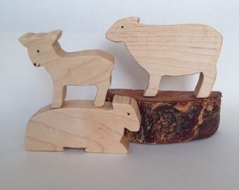 Wooden Sheep Storyset, Little Bo-Peep Sheep, Wooden Storyset, Sheep Family Toy, Easter Sheep, Easter lamb, Wooden Waldorf Toy, Mother Goose
