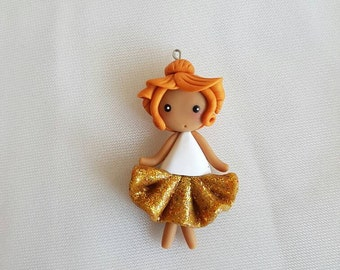 Yellow glitter tutu ballerina doll necklace