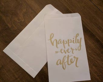 Happily ever after favor bags gold and white - 20 pieces