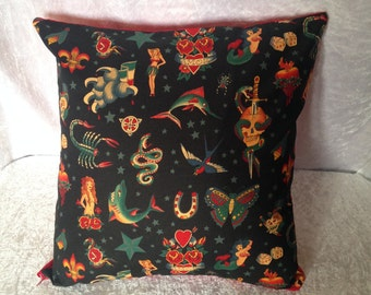 Handmade Black Traditional Tattoo 16 Inch Cushion Cover