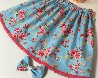 Floral flower rose pretty handmade skirt bow headband set cotton 6-12 12-18 18-14 2-3 3-4 3-4 4-5 years months