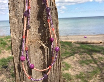 Summer purple amethyst double wrap beaded necklace
