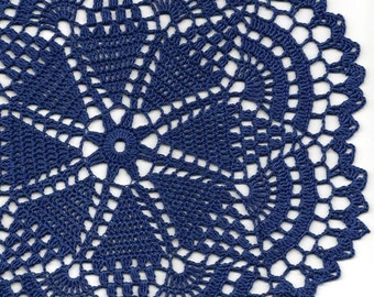 Crochet Doily Lace doilies Table decoration Crocheted Doilies Centrepiece Hand Made Wedding Doily Napkin Boho Bohemian Decor Round Navy Blue